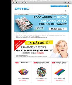 Der OPITEC Newsletter per E-Mail - mit wöchentlich wechselnden Online-Angeboten