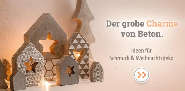 Der grobe Charme von Beton. Ideen für Schmuck & Weihnachtsdeko!