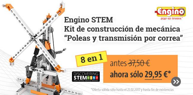 Nuestra oferta TOP: Engino STEM Kit de construcción de mecánica         Poleas y transmisión por correa 8 en 1