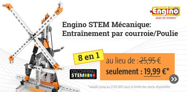 Notre meilleure offre: Engino STEM Mécanique:      Entraînement par courroie/Poulie 8 en 1