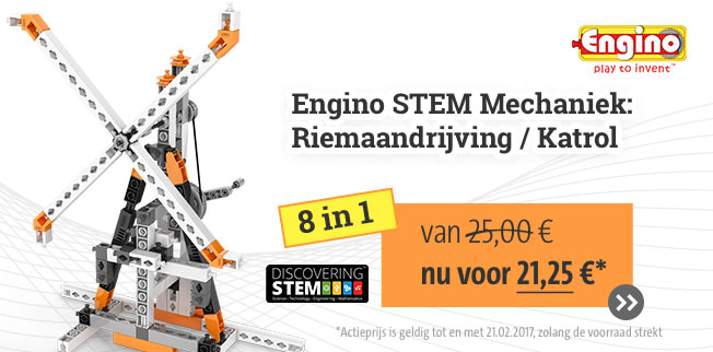 Onze TOP-aanbieding: Engino STEM Mechaniek:         Riemaandrijving / Katrol 8 in 1