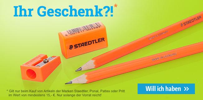 Ihr Geschenk beim Kauf von Artikeln der Marken Staedtler, Ponal, Pattex oder Pritt im Wert von mindestens 15,- Euro
