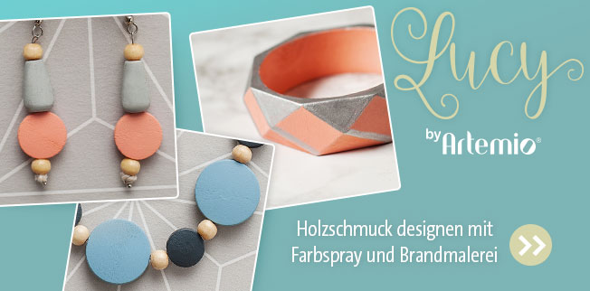 LUCY by Artemio® - Holzschmuck designen mit Farbspray und Brandmalerei