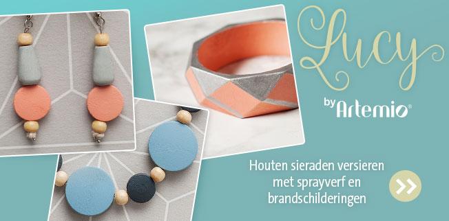 LUCY by Artemio® - Houten sieraden versieren met sprayverf en brandschilderingen