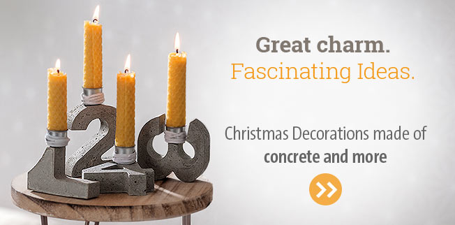 Great charm. Fascinating ideas - christmas decoration from concrete