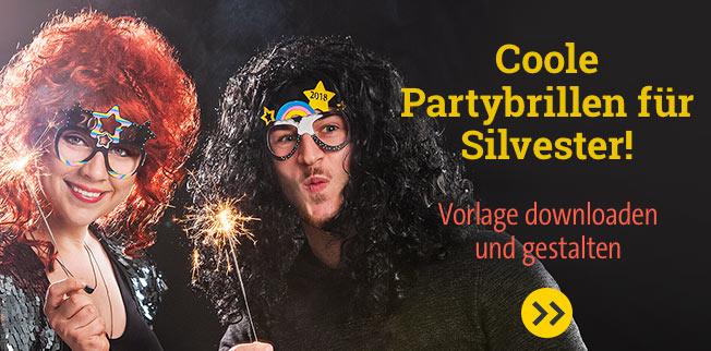 Mit Durchblick in's neue Jahr! Coole Partybrillen für Silvester! Vorlage downloaden und gestalten!