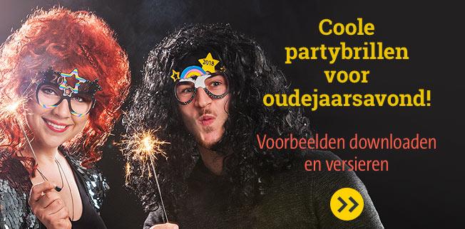Coole partybrillen voor oudejaarsavond! Voorbeelden downloaden en versieren!