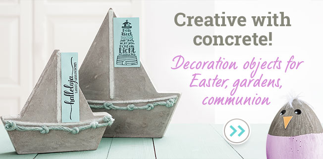 Creative with concrete! Decoration objects for Easter, gardens, communion
