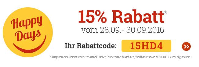 OPITEC Happy Days: 15 % Rabatt auf fast alles vom 28.09.-30.09.2016!