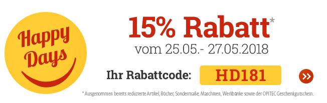 OPITEC Happy Days: 15 % Rabatt auf fast alles vom 25.05. - 27.05.2018!