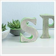 Detaillierte Anleitung Schriftzug SPRING aus Kreativ-Beton und Paper-Art-Buchstaben