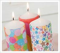 bougies avec la technique des serviettes