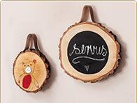 Discos de madera con cuero