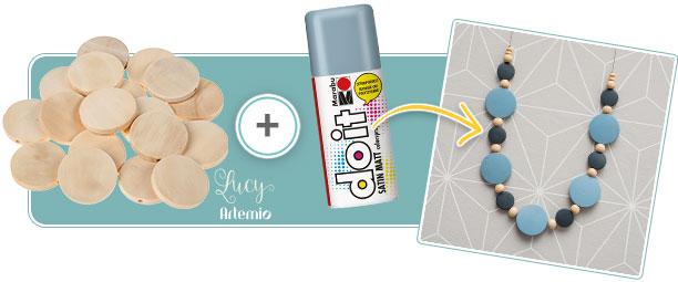 Bigiotteria in legno  Lucy - by Artemio ® nebulizzare con i bei colori spray opachi della Marabu do it!