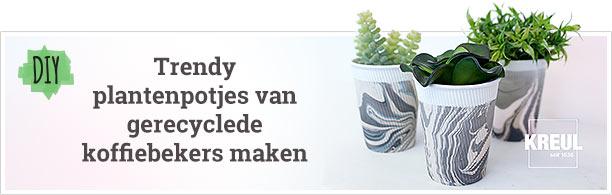 DIY - trendy plantenpotje van koffiebekers
