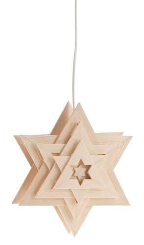 Houten kerstster Orion met electroset en lampje - Opitec