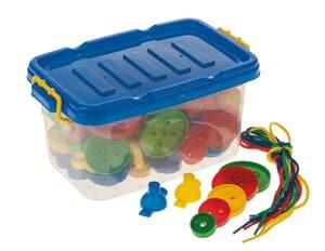 Boutons à enfiler en plastique, dans boîte