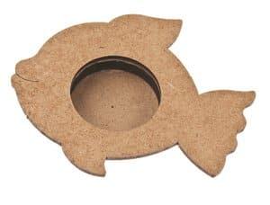 Holz Teelichthalter, Fisch (3-tlg./11 cm)
