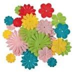 Papierblumen, 30-teilig bunt