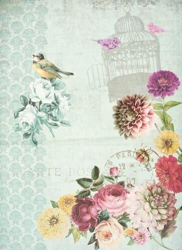 Flur Italienisch Gestalten : DecoupagePapier, Fleurs (35 x 50 cm)  Opitec