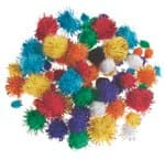 Pompons, 78 Stück glitter farbig (1-2,5 cm)