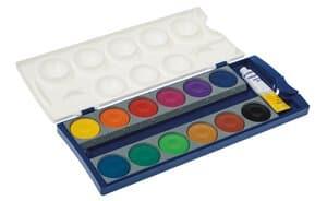 Verfdoos Pelikan, 12 kleuren en 1 tube dekwit