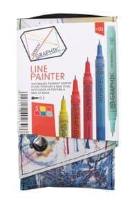 DERWENT Graphik Line Painter set 01, 5 stuks