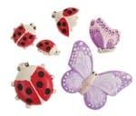 Molde - Mariquita/mariposas,6 motivos (25 - 80 mm)
