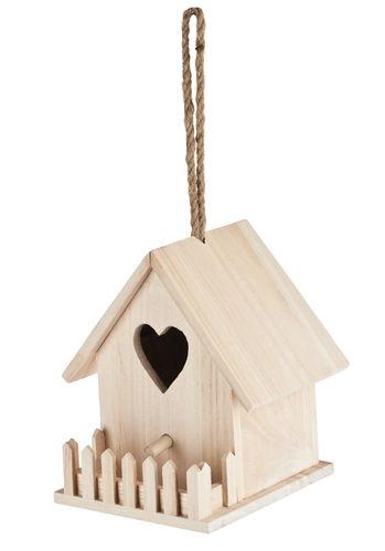vogelhaus holz mit zaun ca 13 x 12 5 x 17 cm opitec. Black Bedroom Furniture Sets. Home Design Ideas