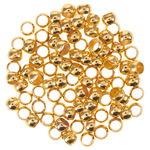 Quetschperlen Metall, 50 Stück goldfarben (3 mm)
