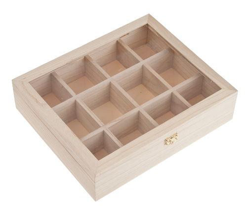 teebox holz mit 12 f chern 285 x 235 x 70 mm opitec. Black Bedroom Furniture Sets. Home Design Ideas