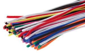 Chenilledraad, 100st./ 10 kleuren (14 mm/50 cm)