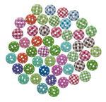 Houten knopen, bont gekleurd, 15 mm, 50 stuks