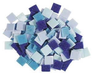 Mozaïek glasstenen (10 x 10 mm) 200 g, blauwmix