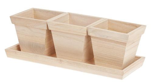 Vasi di legno con sottovaso 4 parti opitec for Vasi di legno