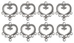 Ciondolo di metallo - cuore, 8 pezzi