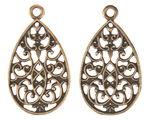 Ciondolo di metallo 'Ornamenti', oro, 2 pezzi