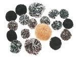 Pompons, Black,brown tones, 18 pieces
