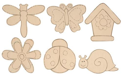Motivos infantiles de madera para pintar , 6 ud. - Opitec