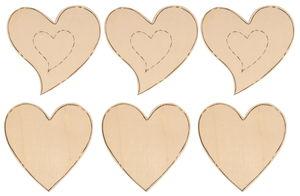 Formes en bois -Coeur-, Dim. 7 x 7 cm...,