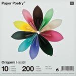 Origami papier 'Pastel', 10 kleuren elk 20 stuks