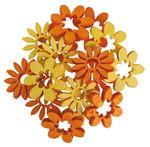 Miniature legno - fiori, 2 motivi e colori, 72 pz