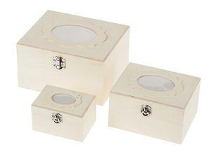 Holzboxen mit Bilderrahmen, 3er Set