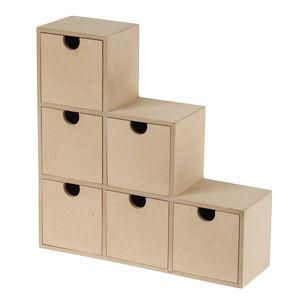 Holz-Schränkchen mit 6 Schubladen (24 x 7 x 24 cm)