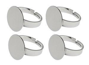 Bagues en métal avec plaque, Ajustable, 4 pièces