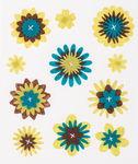 Filzsticker, 11 Stück Blumen Lime