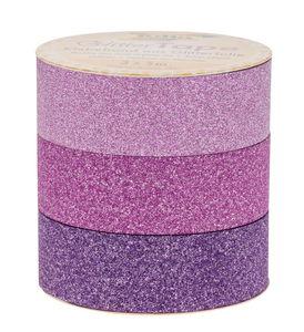 Glitter plakband (15mmx5m) roze/pink/lila, 3 stuks