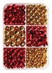 Metallic-Perlen Mix, 280er-Set rot/gold