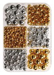 Metallic - Perlen Mix, gold/silber, 280er-Set