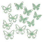 Felt deco - Butterflies, 12 pieces mint green